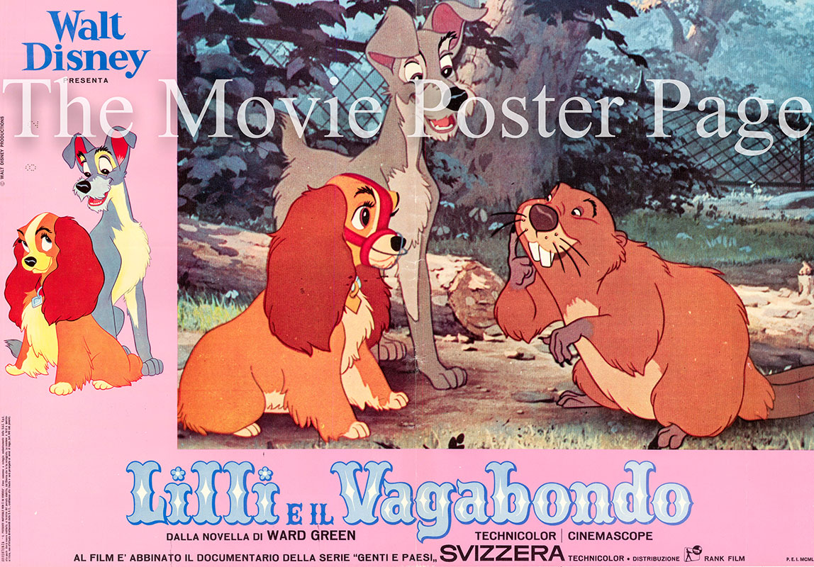 Pictured is an Italian busta poster for a 1966 rerelease of the 1955 Clyde Geronimi and Wilfred Jackson film Lady and the Tramp starring Barbara Luddy as the voice of Lady.