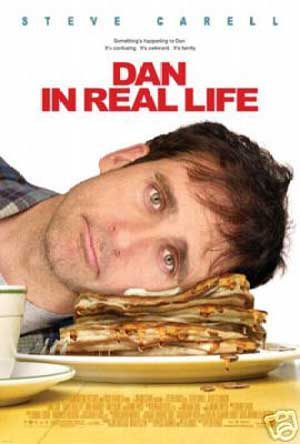 Pictured is the US promotional one-sheet poster for the 2007 Peter Hedges film Dan in Real Life starring Steve Carell.
