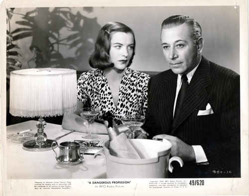 Pictured is a US promotional still photo from the 1949 Ted Tetzlaff film A Dangerous Profession starring George Raft.