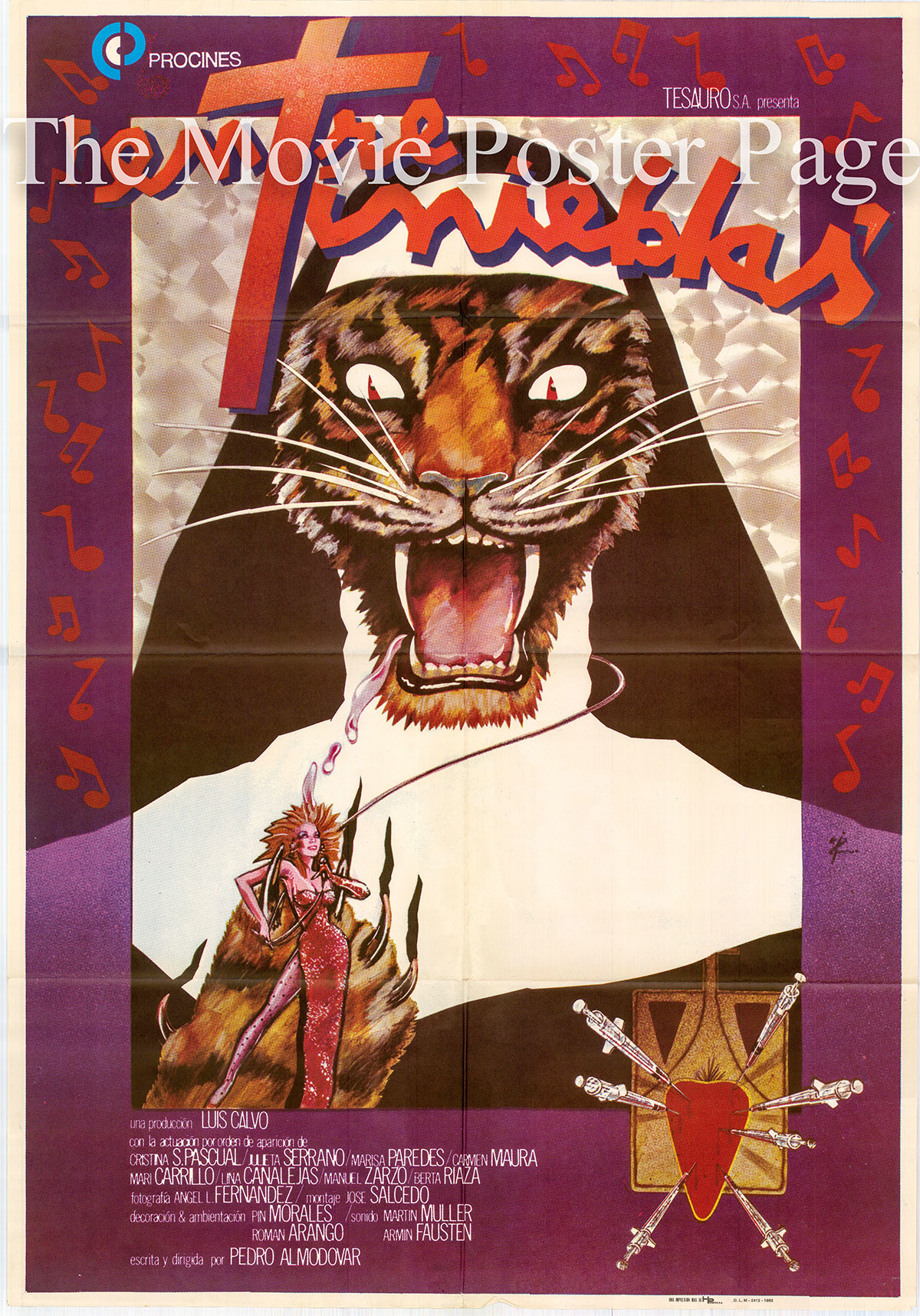 Pictured is a Spanish promotional poster for the 1983 Pedro Almodovar film Dark Habits starring Julieta Serrano.