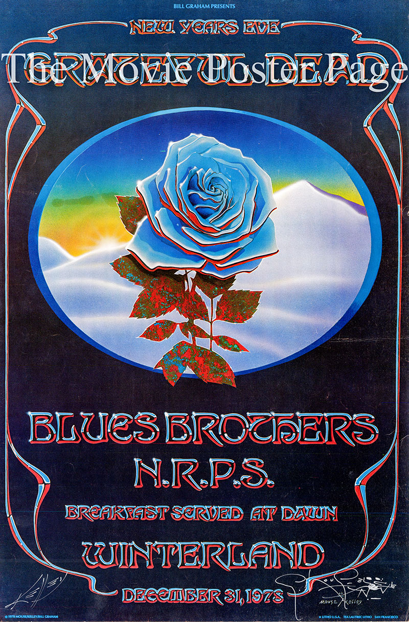 Pictured is a US promotional concert poster for a 1978 concert at Winterland Auditorium in San Francisco by the Grateful Dead, the Blues Brothers and the New Riders of the Purple Sage.