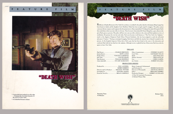 Pictured is a US promotional color herald  from the 1974 Michael Winner film Death Wish starring Charles Bronson.
