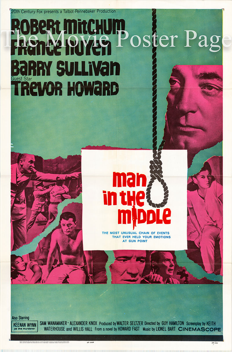 Pictured is a US one-sheet poster for the 1964 Guy Hamilton film Man in the Middle starring Robert Mithchum.