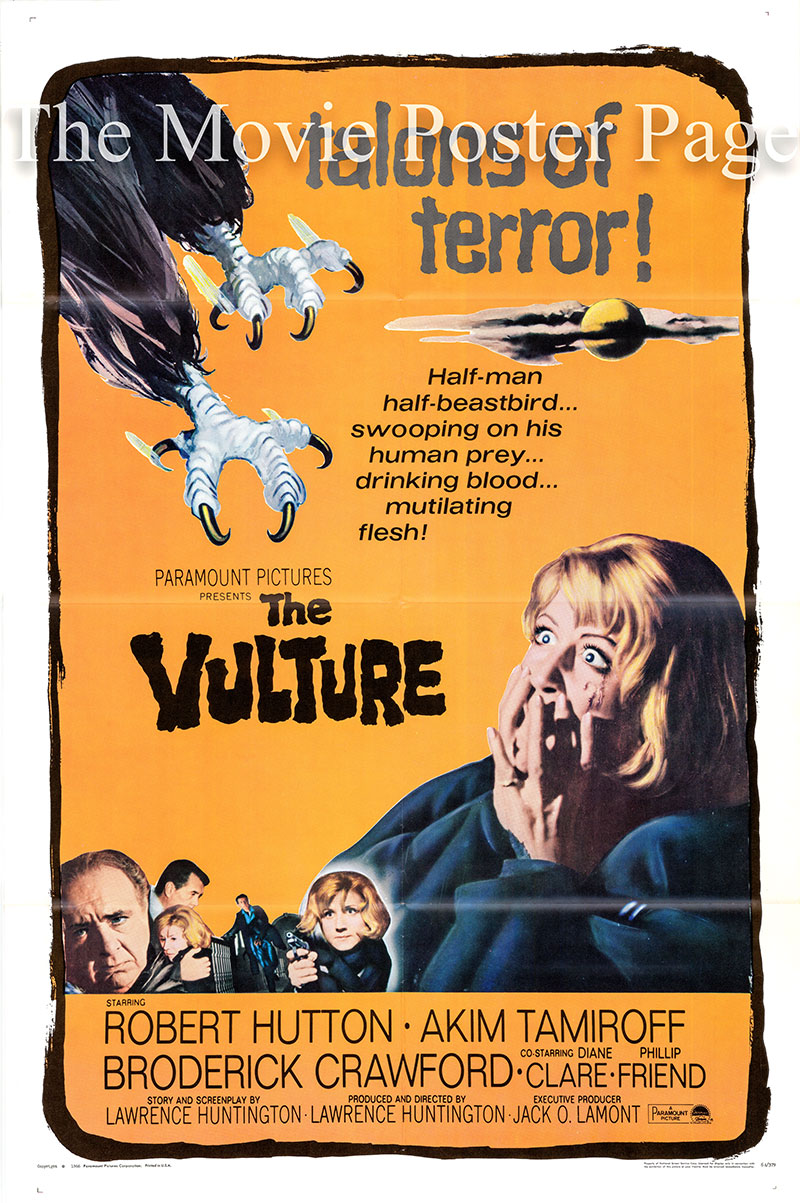 Pictured is a US one-sheet poster for the 1966 Lawrence Huntington film The Vulture starring Robert Hutton as Dr. Eric Lutens.