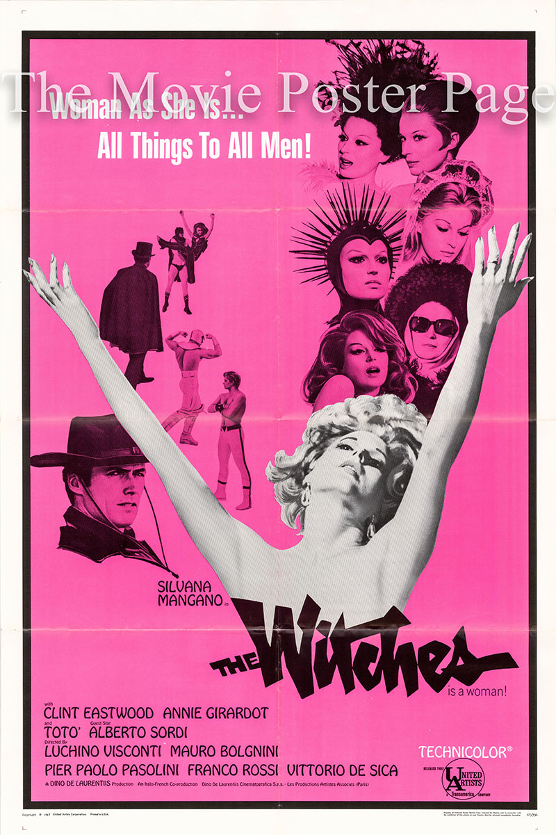 Pictured is a US one-sheet poster for the 1967 Mauro Bologini, Vittorio De Sica, Pier Paolo Pasolini, Franco Rossi and Luchino Visconti film The Witches starring Silvana Mangano as Gloria.