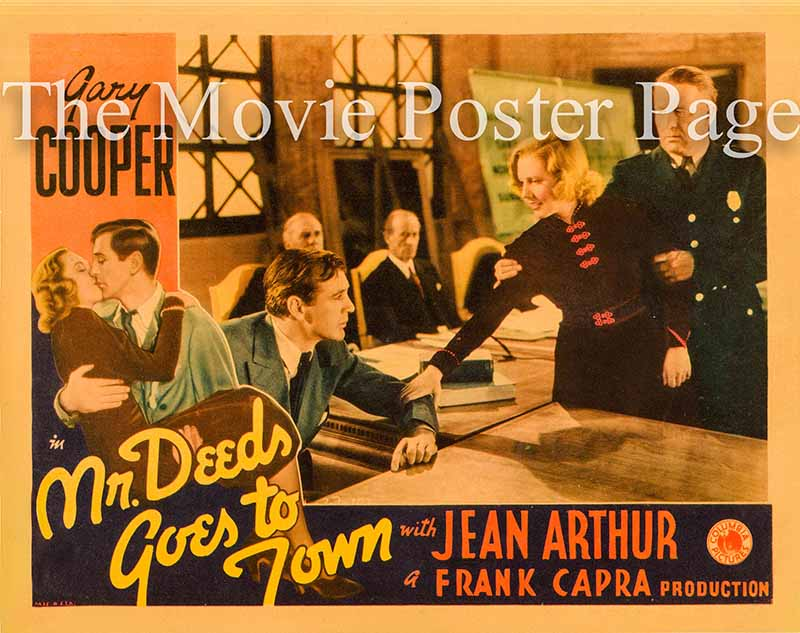 Pictured is a US one-sheet promotional poster for the 1936 Frank Capra film Mr. Deeds Goes to Town starring Gary Cooper.