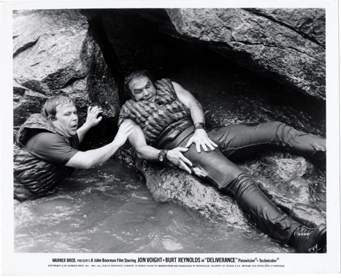 Pictured is a US promotional still photo from the 1972 John Boorman film Deliverance starring Jon Voight.