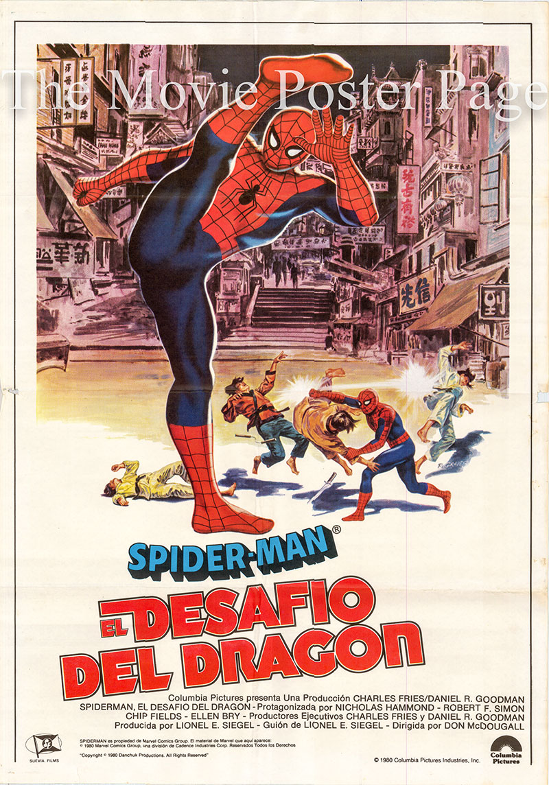 Pictured is a Spanish one-sheet poster for a 1980 rerelease of the 1979 Don McDougall film Spiderman: The Dragon's Challenge starring Nicholas Hammond as Spiderman.