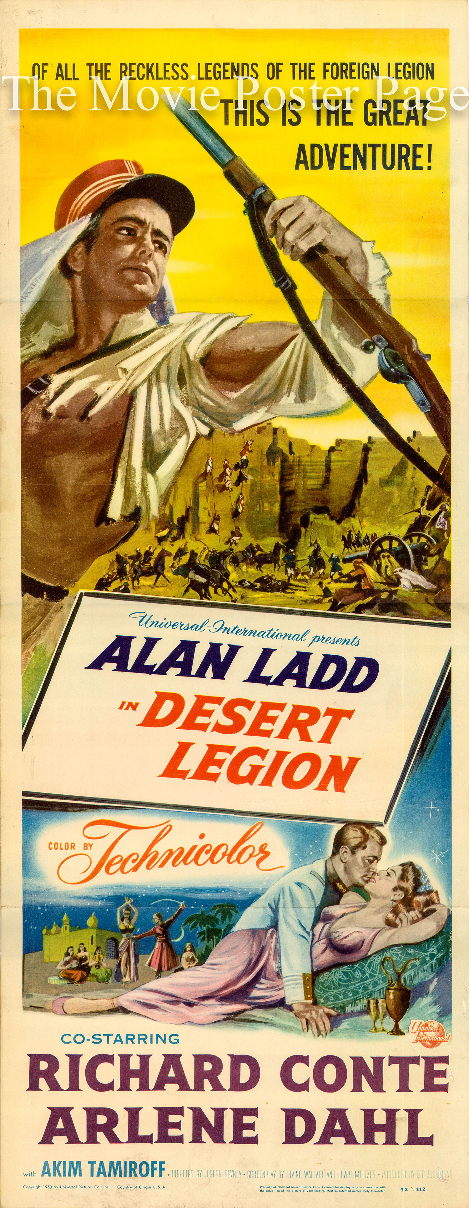 Pictured is a US insert promotional poster for the 1953 Joseph Pevney film Desert Legion starring Alan Ladd.