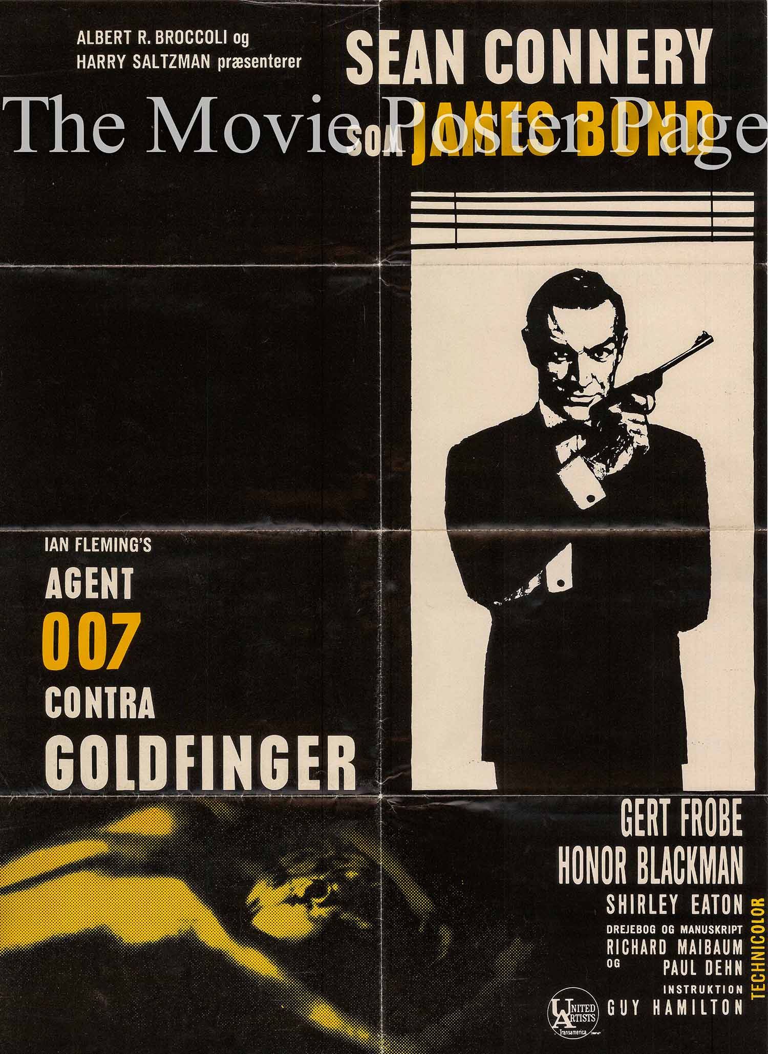 Pictured is a Danish promotional poster made in 1967 for a rerelease of the 1964 Guy Hamilton film Goldfinger starring Sean Connery as James Bond.