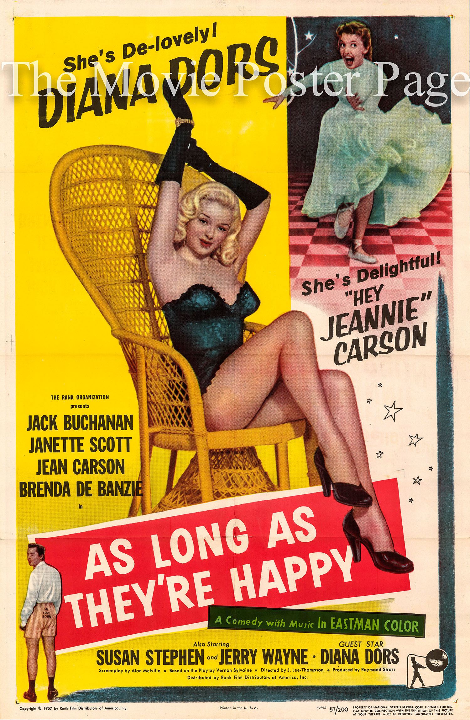 Pictured is a US one-sheet promotional poster for the 1955 J. Lee Thompson film As Long as They're Happy starring Diana Dors.