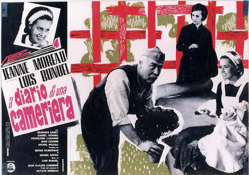 Pictured is an Italian busta poster for the 1968 Luis Bunel film Diary of a Chambermaid starring Jeanne Moreau.
