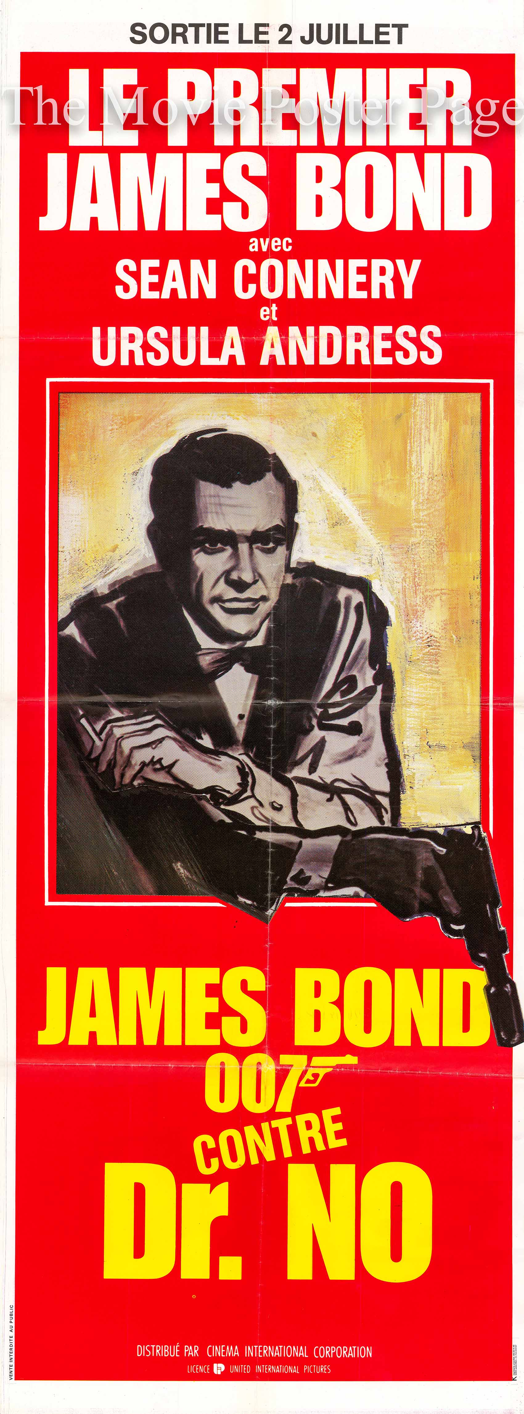 Pictured is a French door panel poster made for a 1980s rerelease of the 1962 Terence Young film Dr. No starring Sean Connery as James Bond.