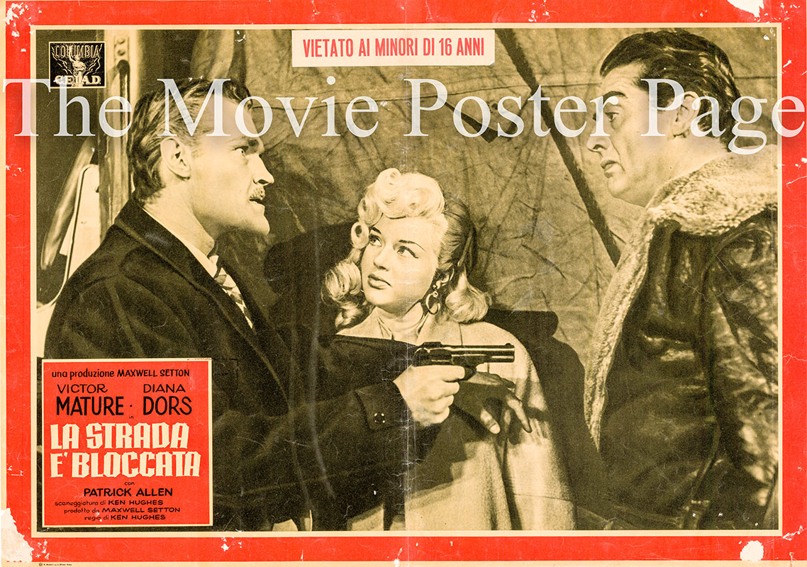 Pictured is an Italian busta promotional poster for the 1957 Ken Hughes film The Long Haul starring Victor Mature and Diana Dors.