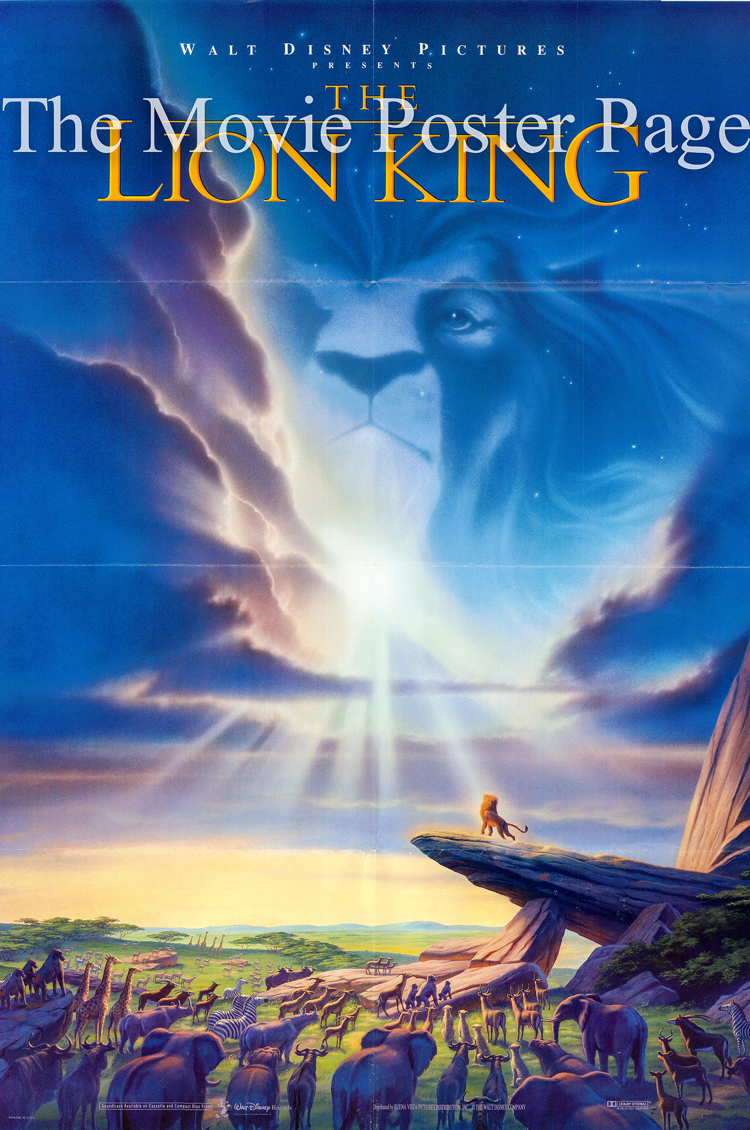 Pictured is a US one-sheet poster for the 1994 Disney Animation film The Lion King starring Matthew Broderick as the voice of the adult Simba.