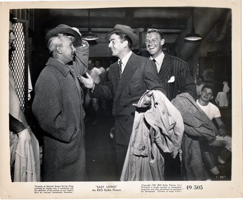 Pictured is a US promotional still photo from the 1949 Jacques Tourneur film Easy Living starring Victor Mature.