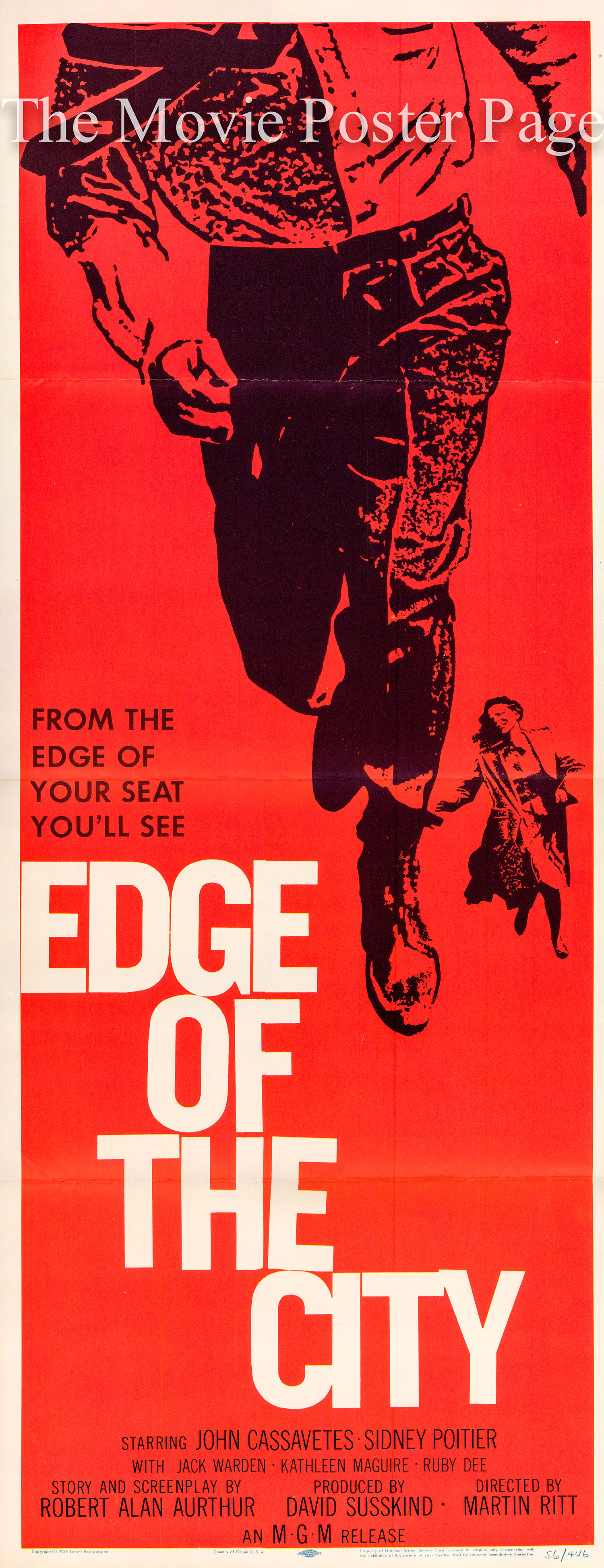 Pictured is a US insert promotional poster for the 1957 Martin Ritt film Edge of the City starring Sidney Poitier and John Cassavetes, with art by Saul Bass.