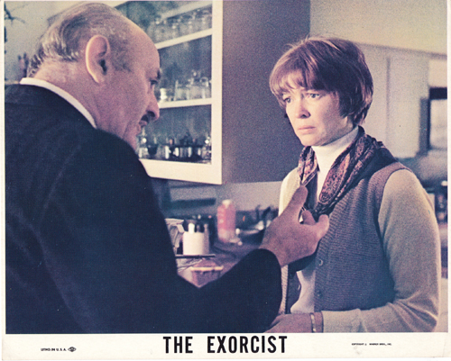 Pictued is a US 8x10 color lobby card for the 1975 William Friedkin film The Exorcist starring Linda Blair and Ellen Burstyn.