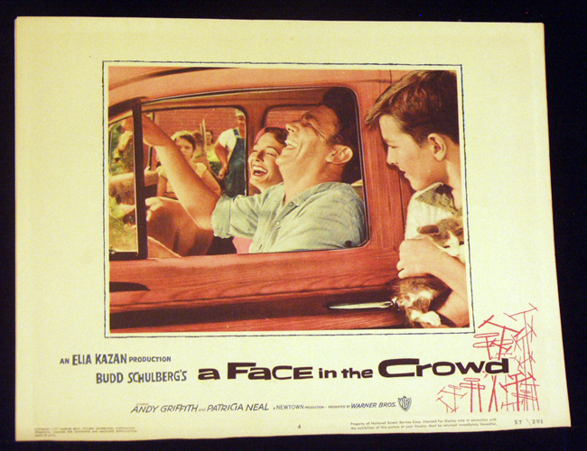 Pictured is a US lobby card for the 1957 Elia Kazan film A Face in the Crowd starring Andy Griffith.