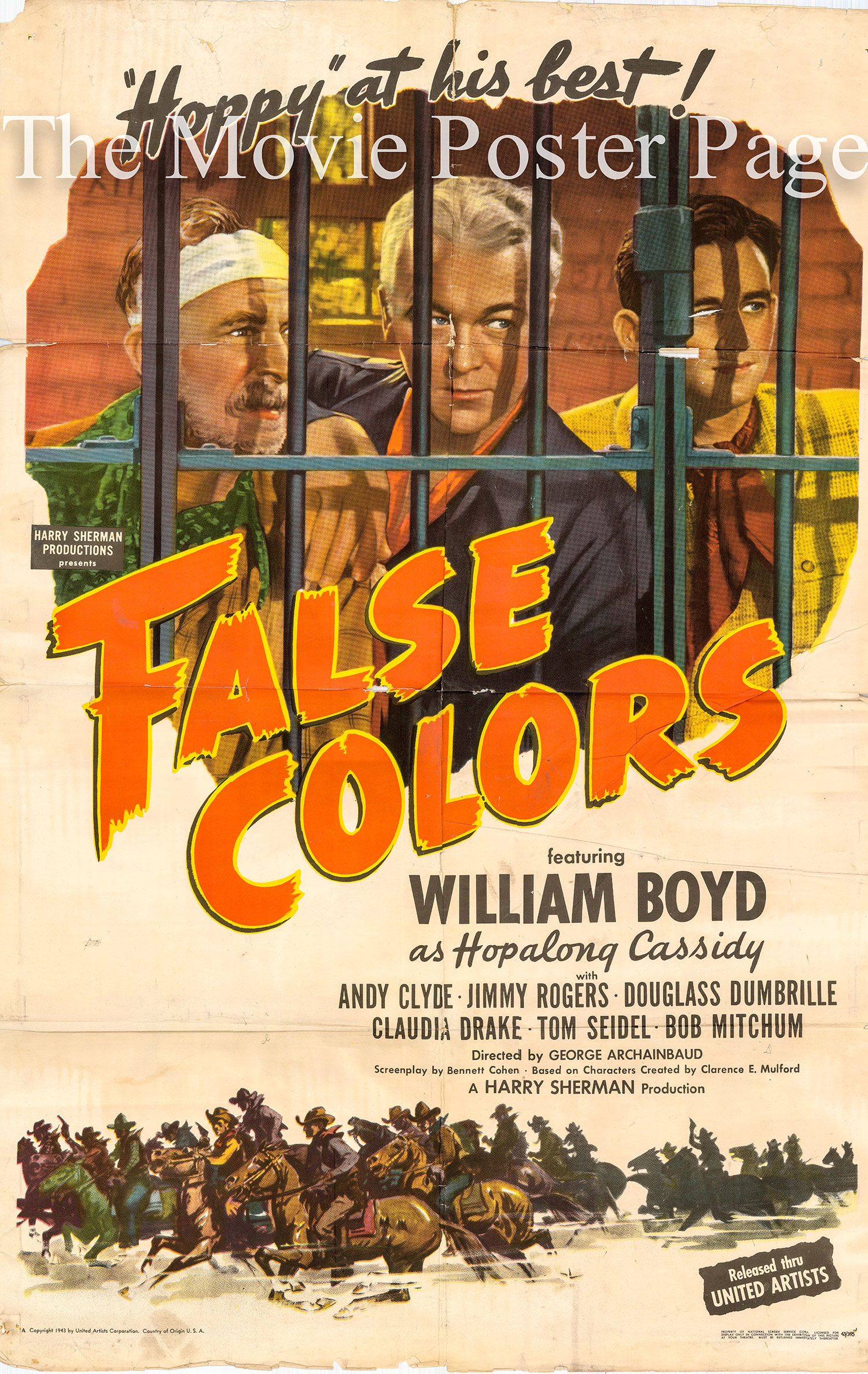 Pictured is a US one-sheet promotional poster for the 1943 George Archainbaud film False Colors starring William Boyd as Hopalong Cassidy.