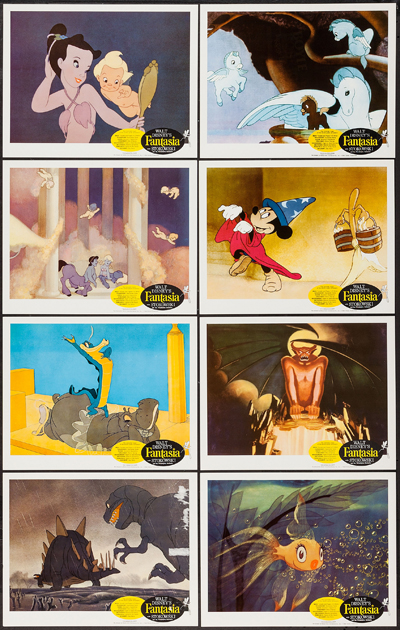 Pictured is a US lobby card set for a 1985 rerelase of the 1940 Disney animation film Fantasia with music by the Philadelphia orchestra conducted by Leopold Stokowski.
