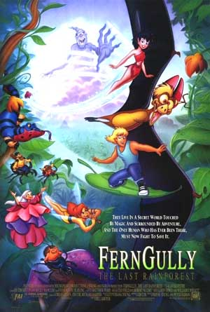 Pictured is the US one-sheet promotional poster for the 1992 Bill Kroyer film FernGully: The Last Rainforest, starring Tim Curry.