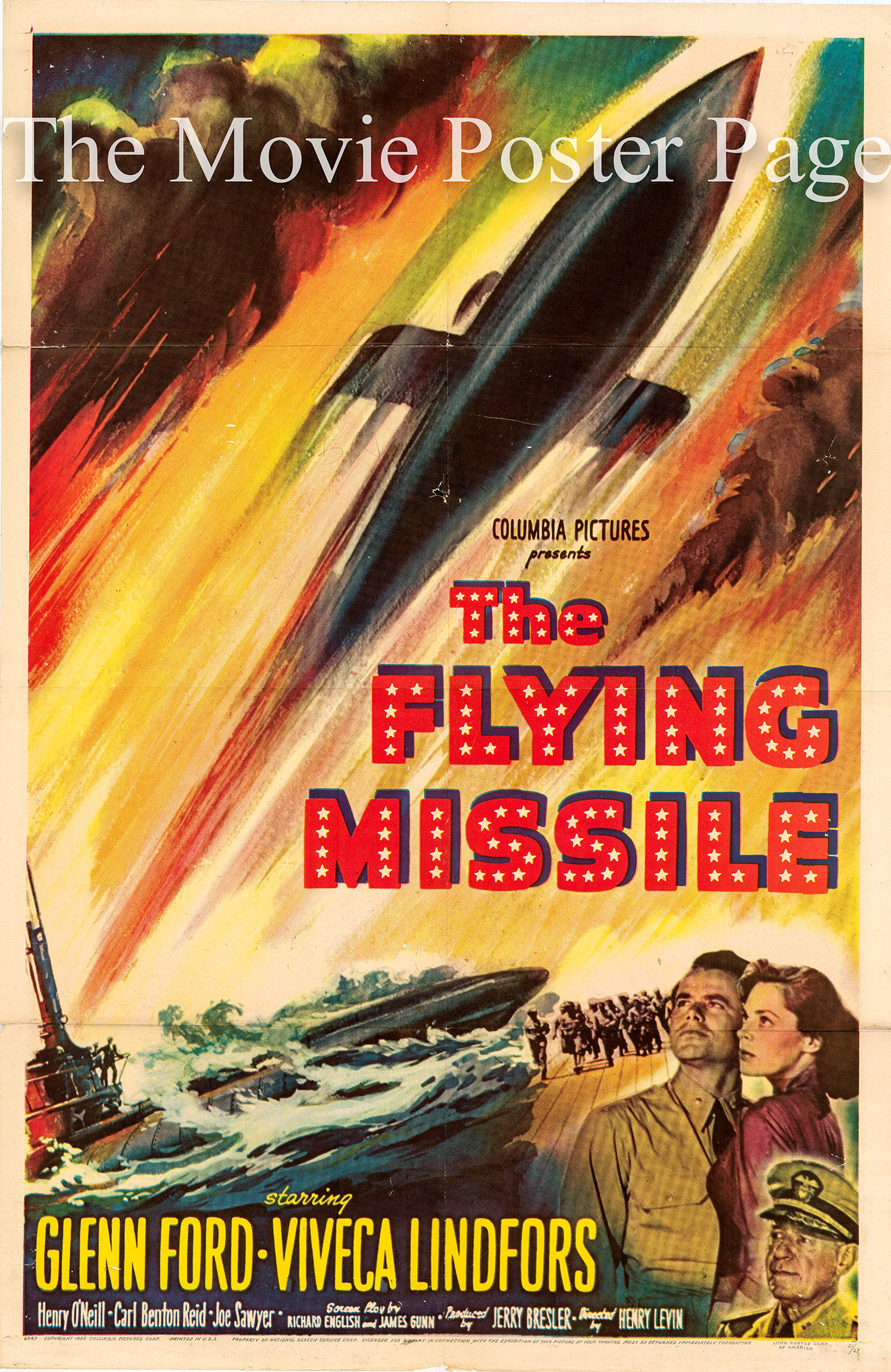 Pictured is a US one-sheet promotional poster for the 1951 Henry Levin film The Flying Missile starring Glenn Ford.