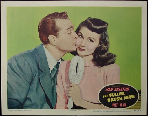 Pictured is a US lobby card for the 1948 S. Sylvan Simon film The Fuller Brush Man starring Red Skelton and Janet Blair.