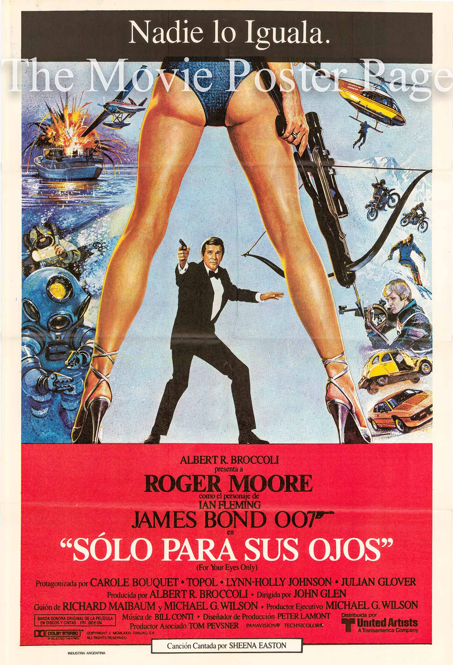 Pictured is an Argentine poster made to promote the 1981 John Glen film For Your Eyes Only starring Roger Moore.