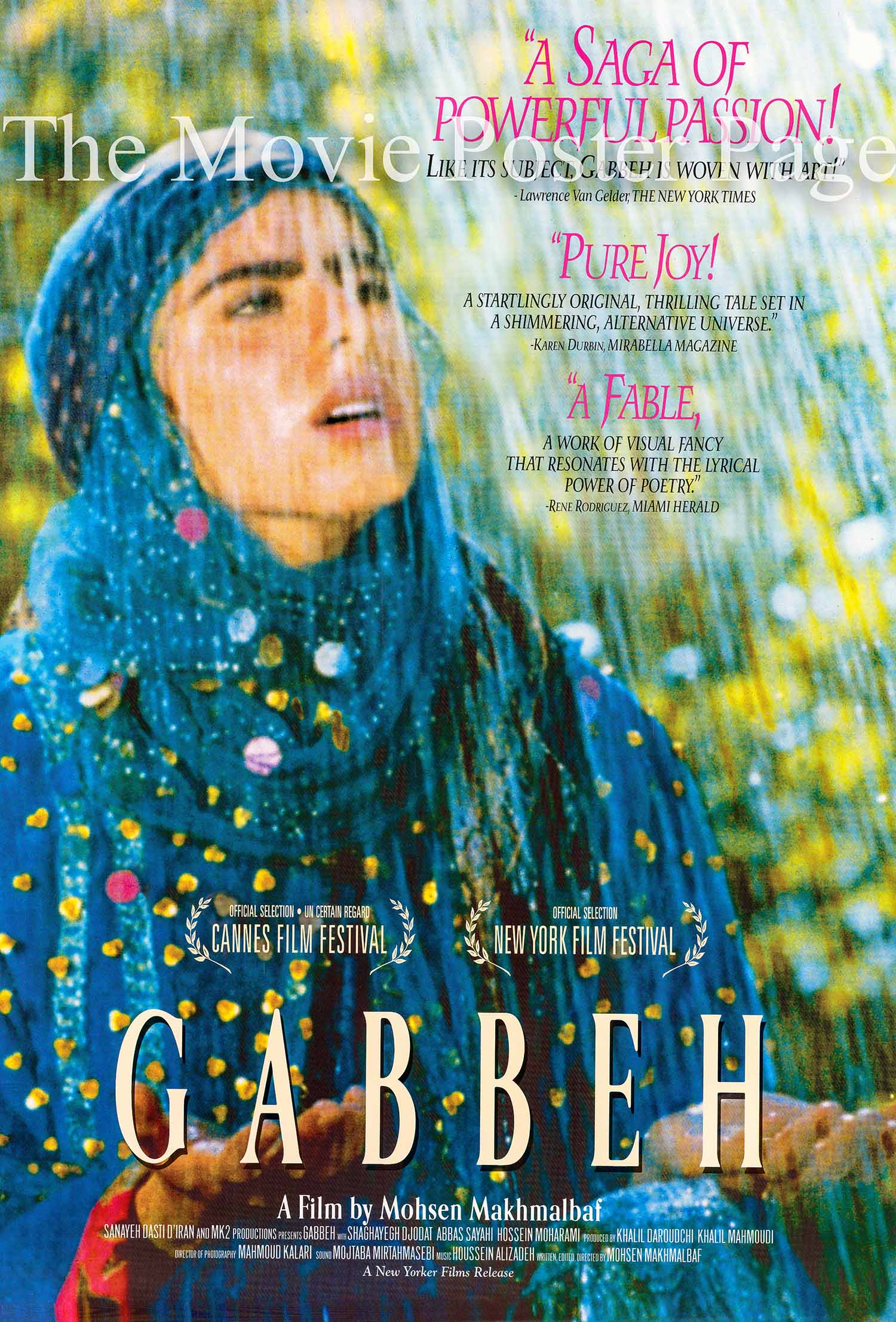 Pictured is a US reviews poster made to promote the 1996 Mohsen Makhmalbaf film Gabbeh starring Shaghayeh Djodat as Gabbeh.