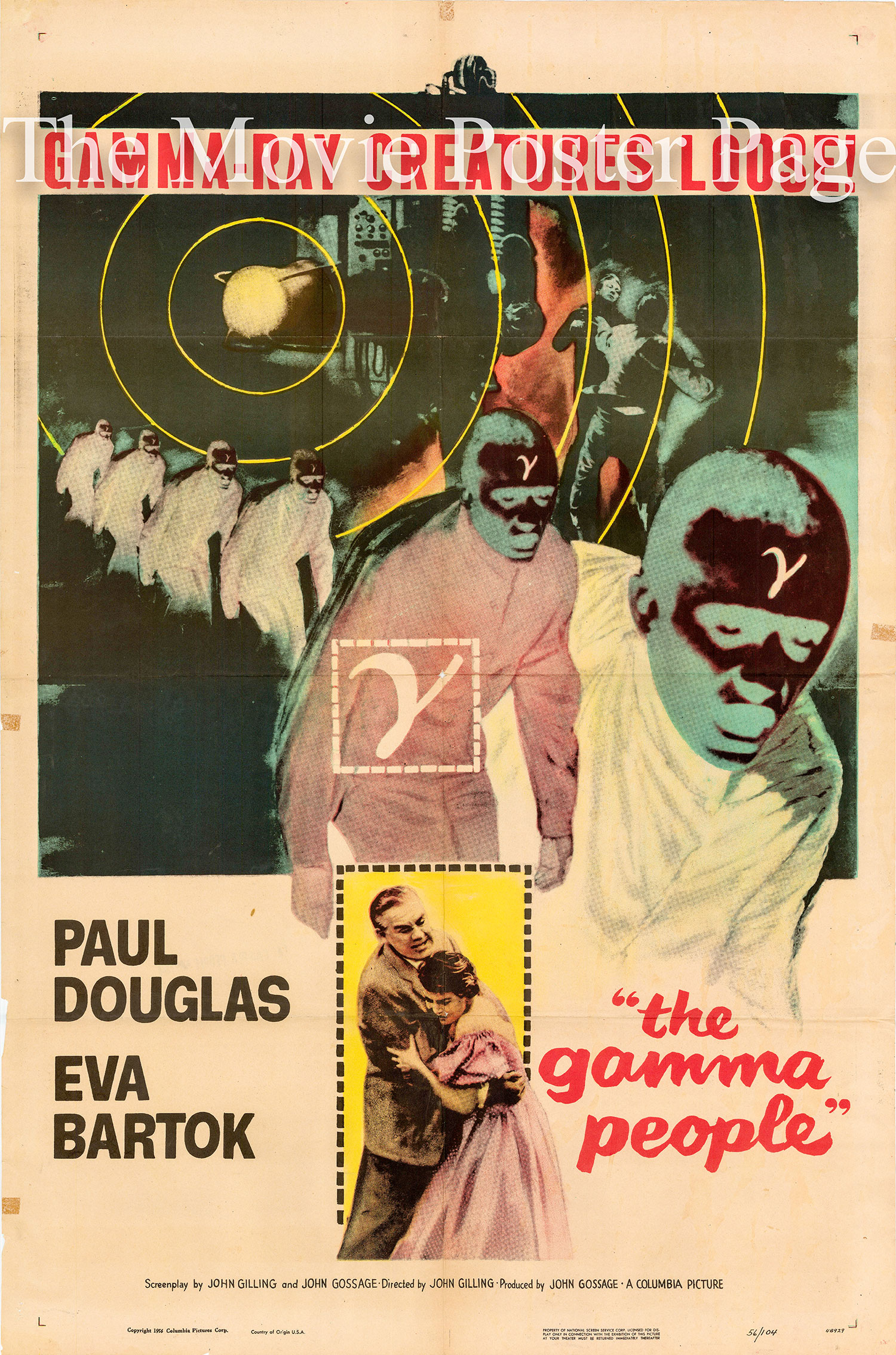 Pictured is a US one-sheet promotional poster for the 1956 John Gilling film The Gamma People starring Paul Douglas.
