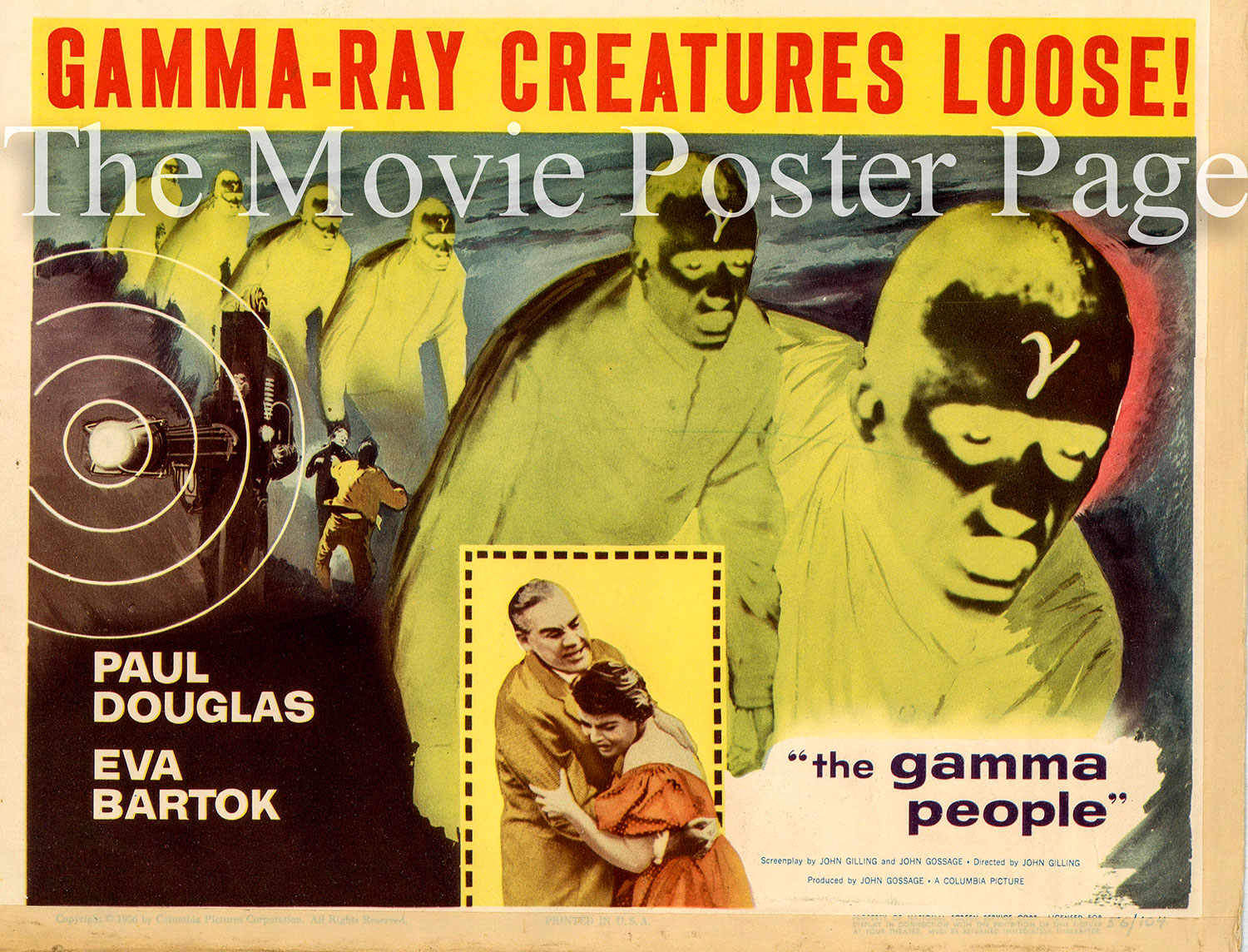 Pictured is a US title card promotional poster for the 1956 John Gilling film The Gamma People starring Paul Douglas.
