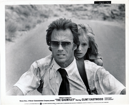 Pictured is a US promotional still photo from the 1977 Clint Eastwoof film The Gauntlet starring Clint Eastwood and Sondra Locke.