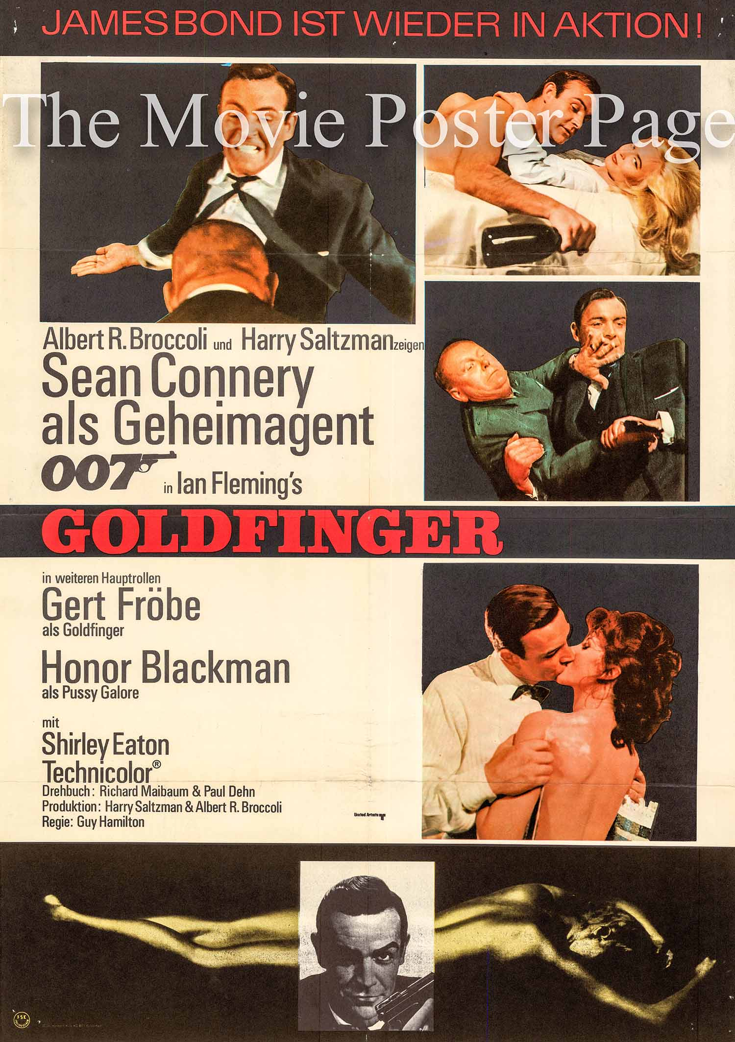 Pictured is a German one-sheet promotional poster made for a 1967 rerelease of the 1964 Guy Hamilton film Goldfinger starring Sean Connery as James Bond.