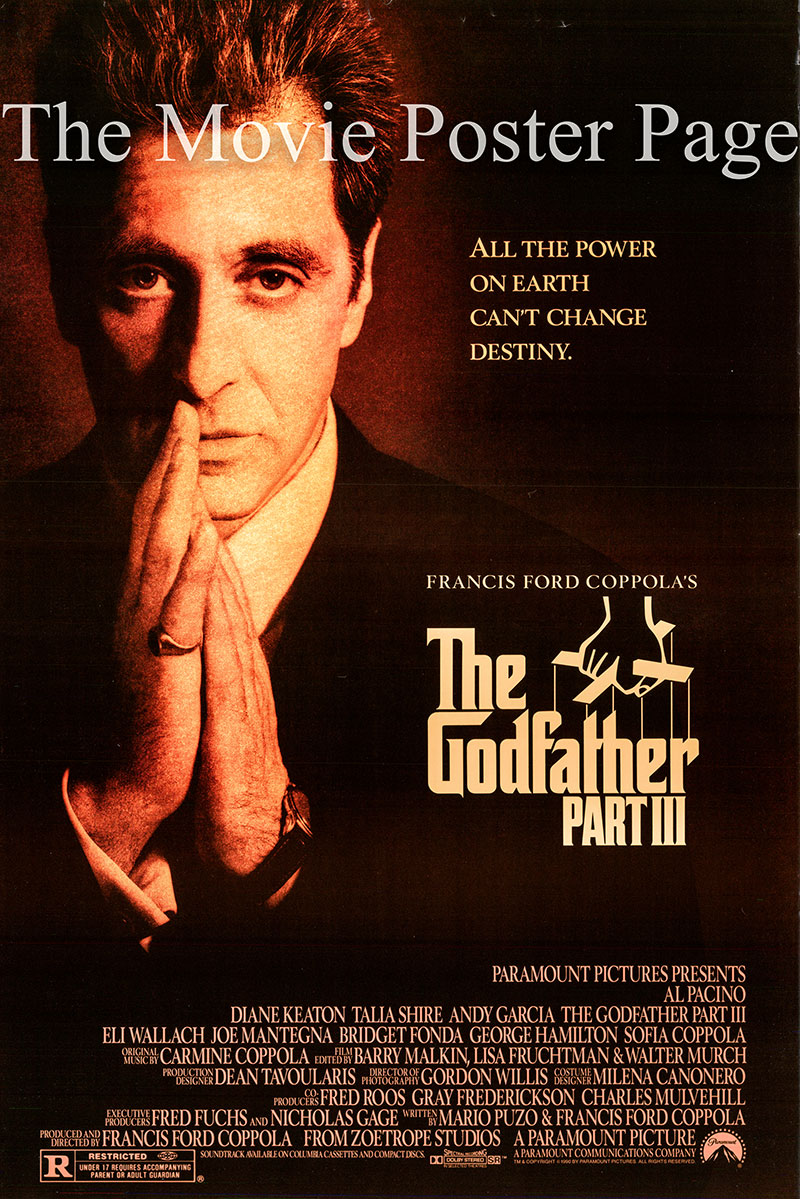Pictured is the US promotional one-sheet poster for the 1990 Francis Ford Coppola film Godfather III starring Al Pacino.