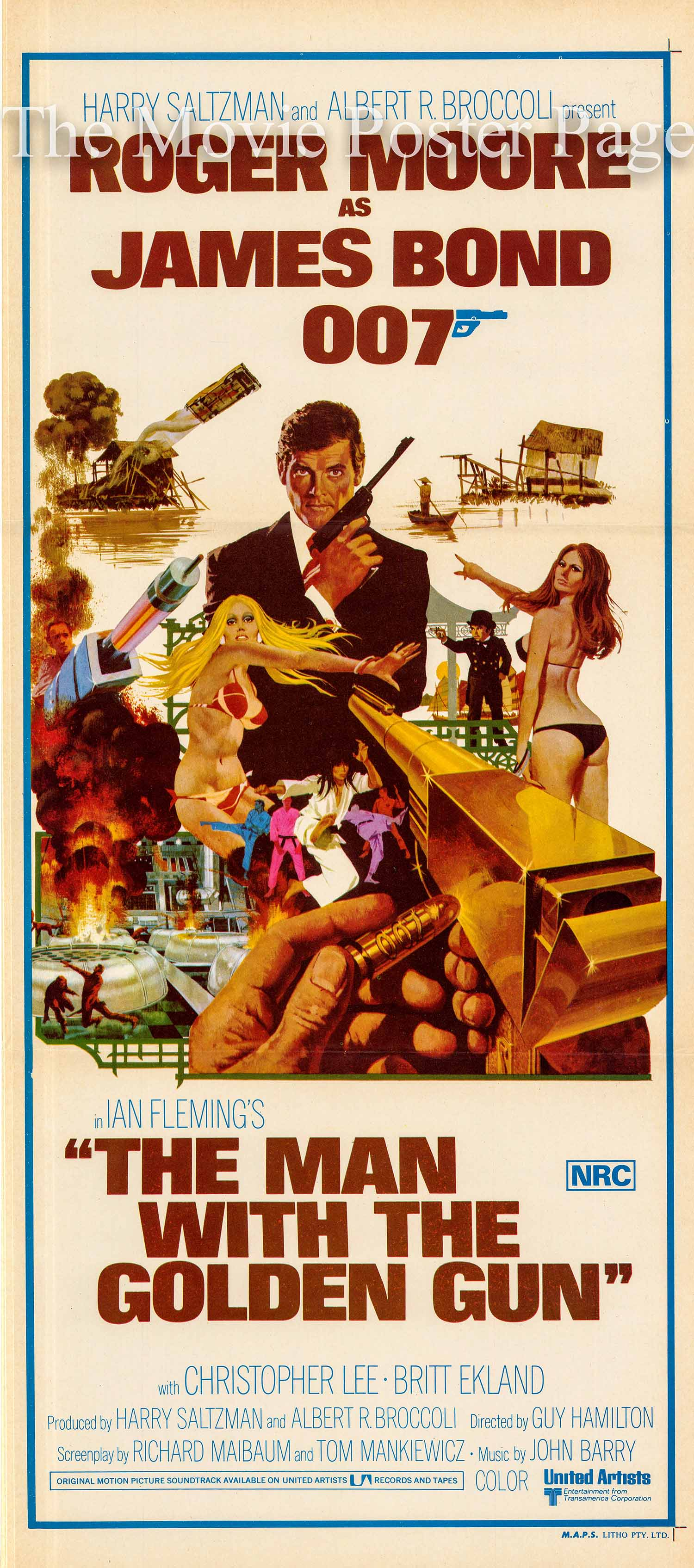 Pictured here is an Australian daybill promotional poster made based on a design by Robert McGinnis to promote the 1974 Guy Hamilton film The Man with the Golden Gun starring Roger Moore as James Bond.