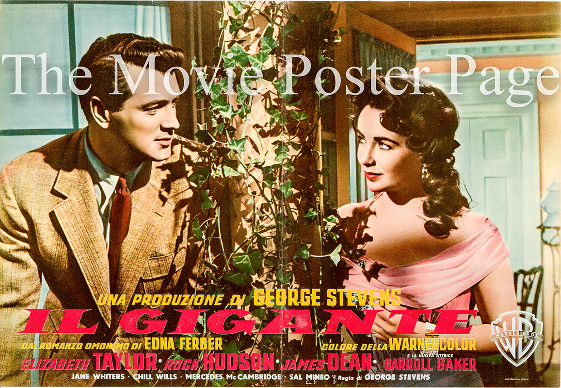 Pictured is an Italian fotobusta poster for the 1956 George Stevens film Giant starring James Dean.