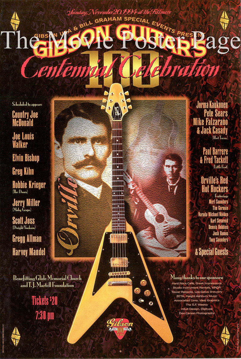 Pictured is a promotional concert poster for the 1994 Gibson Guitars Centennial Celebration.