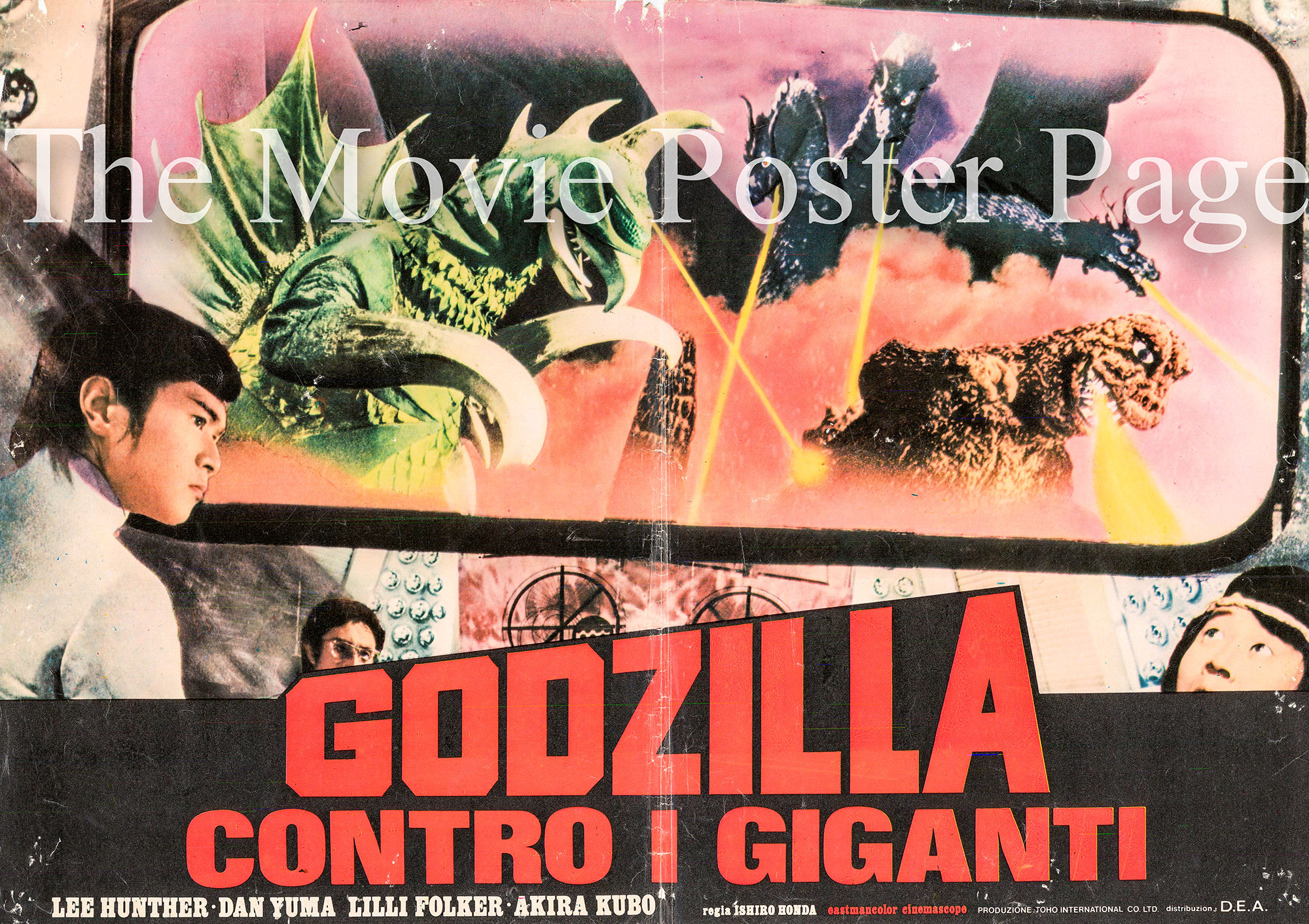 Pictured is an Italian busta poster for the 1972 Jan Fukuda film Godzilla vs. Gigan starring Hiroshi Ishikawa.