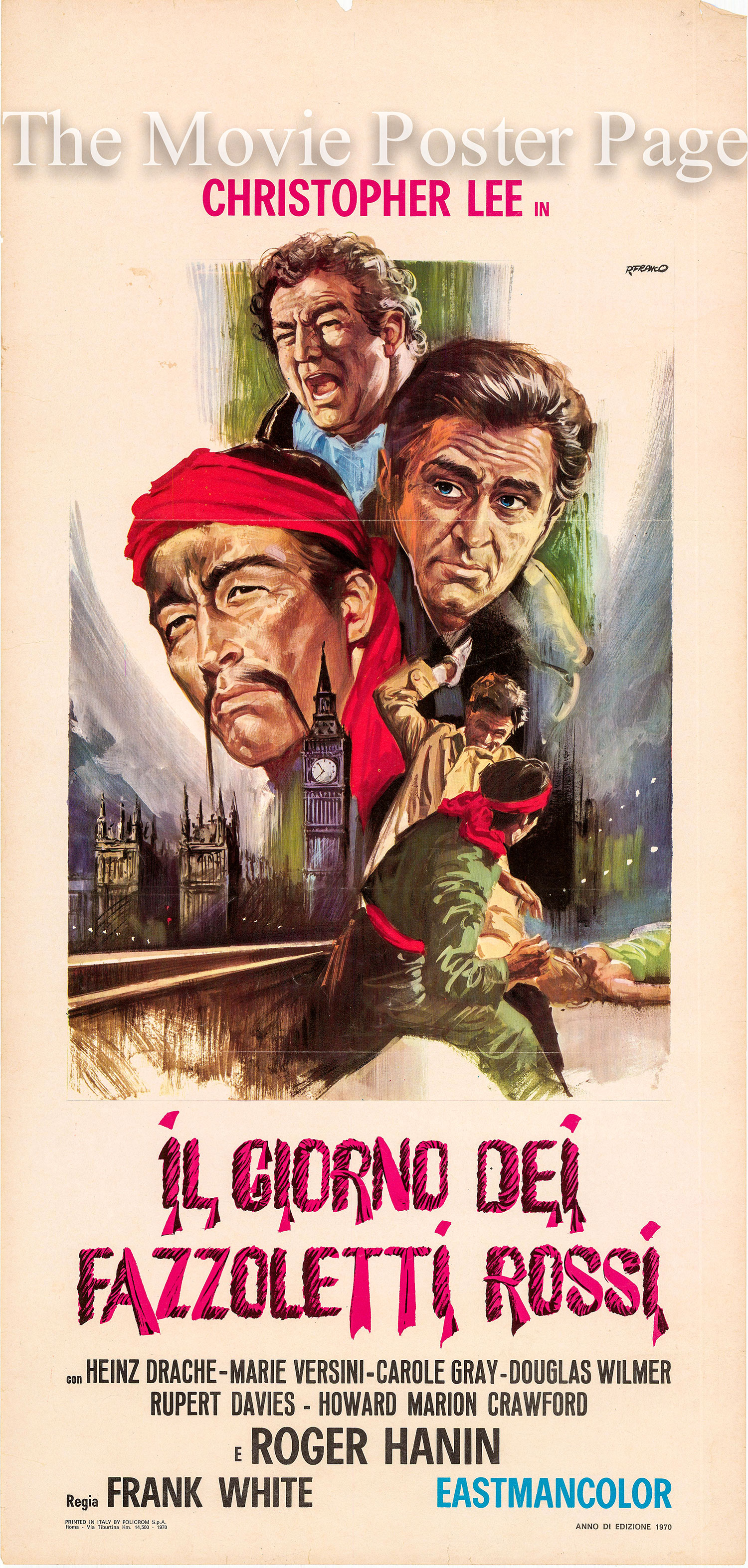 Pictured is an Italian locandina poster for the 1966 Don Sharp film The Brides of Fu Manchu starring Christopher Lee as Fu Manchu.