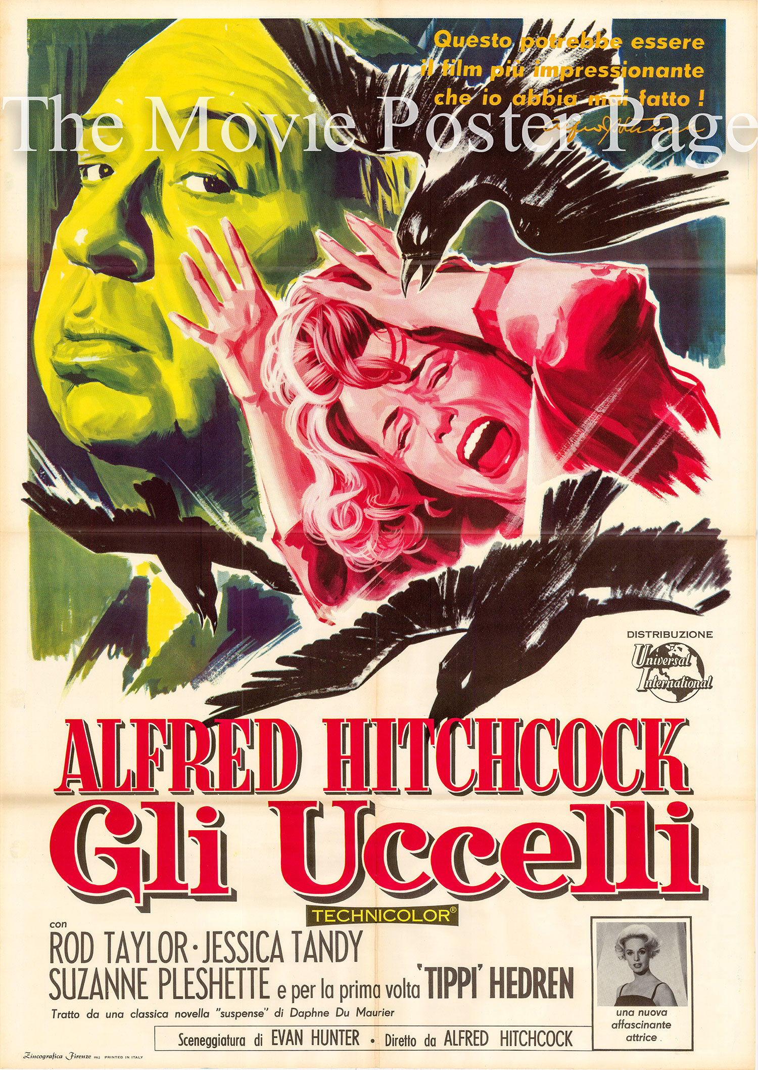 Pictured is an Italian two-sheet poster made to promote the 1963 Alfred Hitchcock film The Birds starring Tippi Hedren.