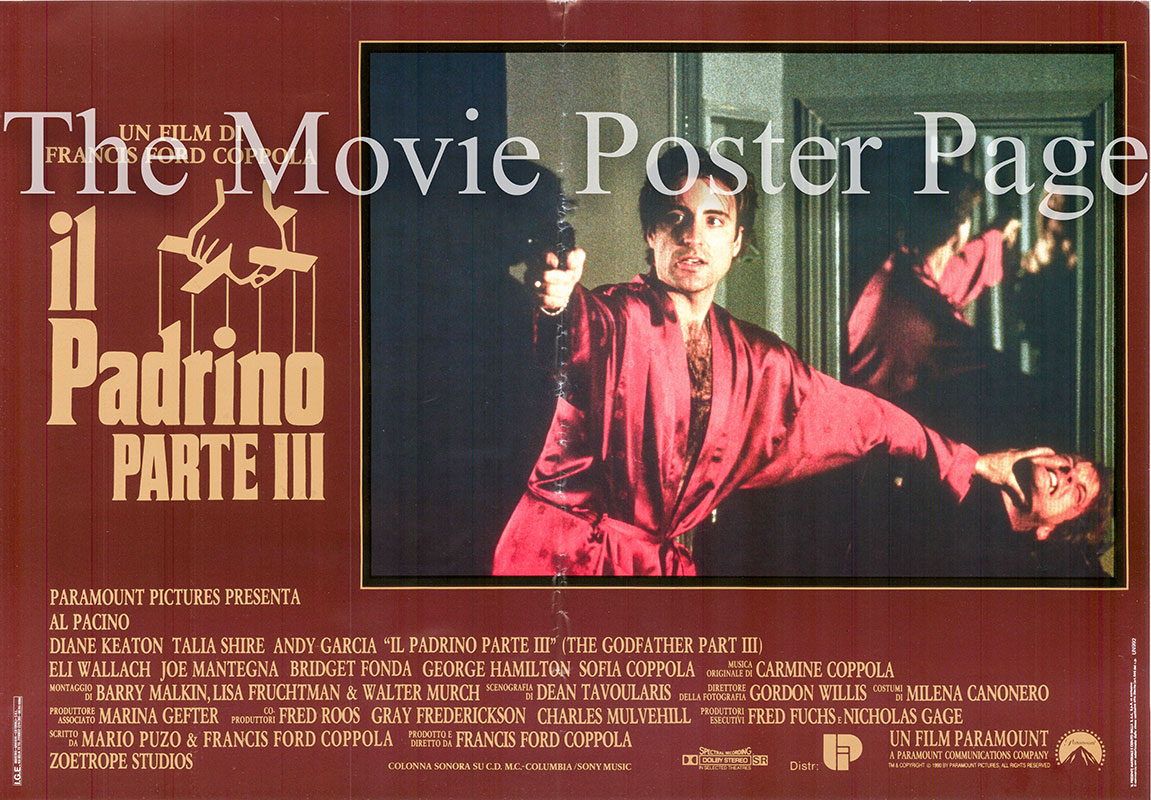 Pictured is an Italian Busta poster for the 1990 Francis Ford Coppola film Godfather III starring Al Pacino.