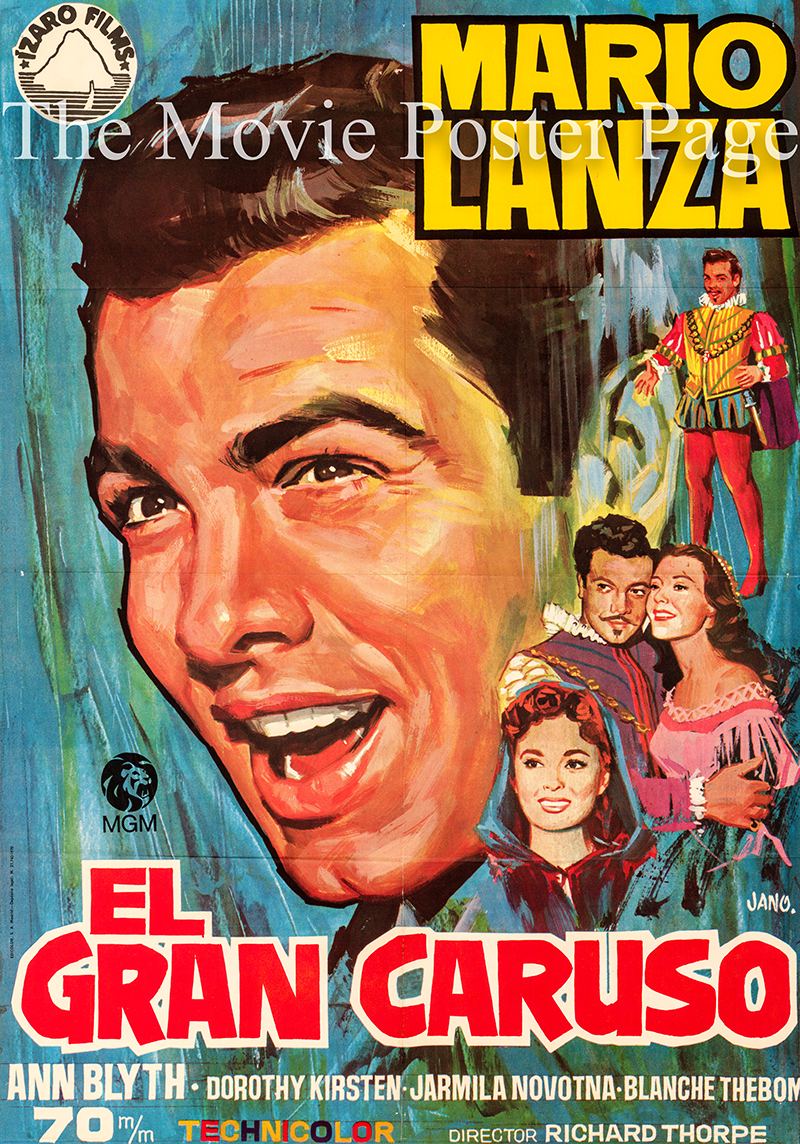 Pictured is a Spanish one-sheet promotional poster for a 1970 rerelease of the 1951 Richard Thorpe film The Great Caruso starring Mario Lanza.
