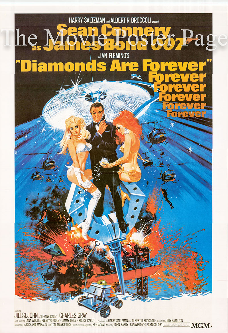 Pictured is a 26x37 reprint of a US one-sheet poster for the 1971 Guy Hamilton film Diamonds are Forever starring Sean Connery as James Bond.