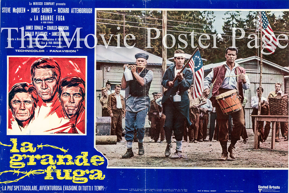 Pictured is an Italian busta poster for a 1970s rerelease of the 1963 John Sturges film the Great Escape starring Steve McQueen.