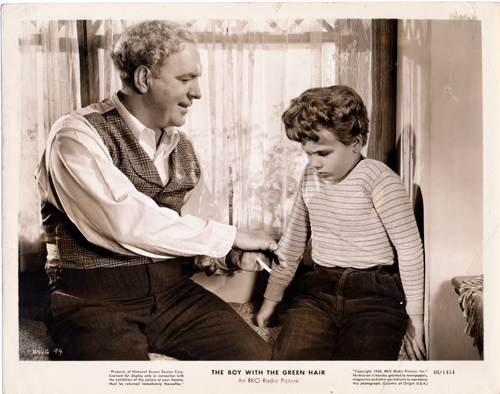 Pictured is a US promotional still photo from the 1948 Joseph Losey film The Boy with the Green Hair starring Dean Stockwell as Peter Fry, the boy with the green hair.
