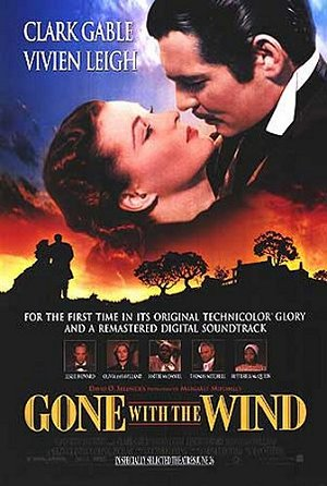 Pictured is the US one-sheet poster for the 1998 rerelease of the Victor Fleming film Gone with the Wind starring Clark Gable and Vivien Leigh.