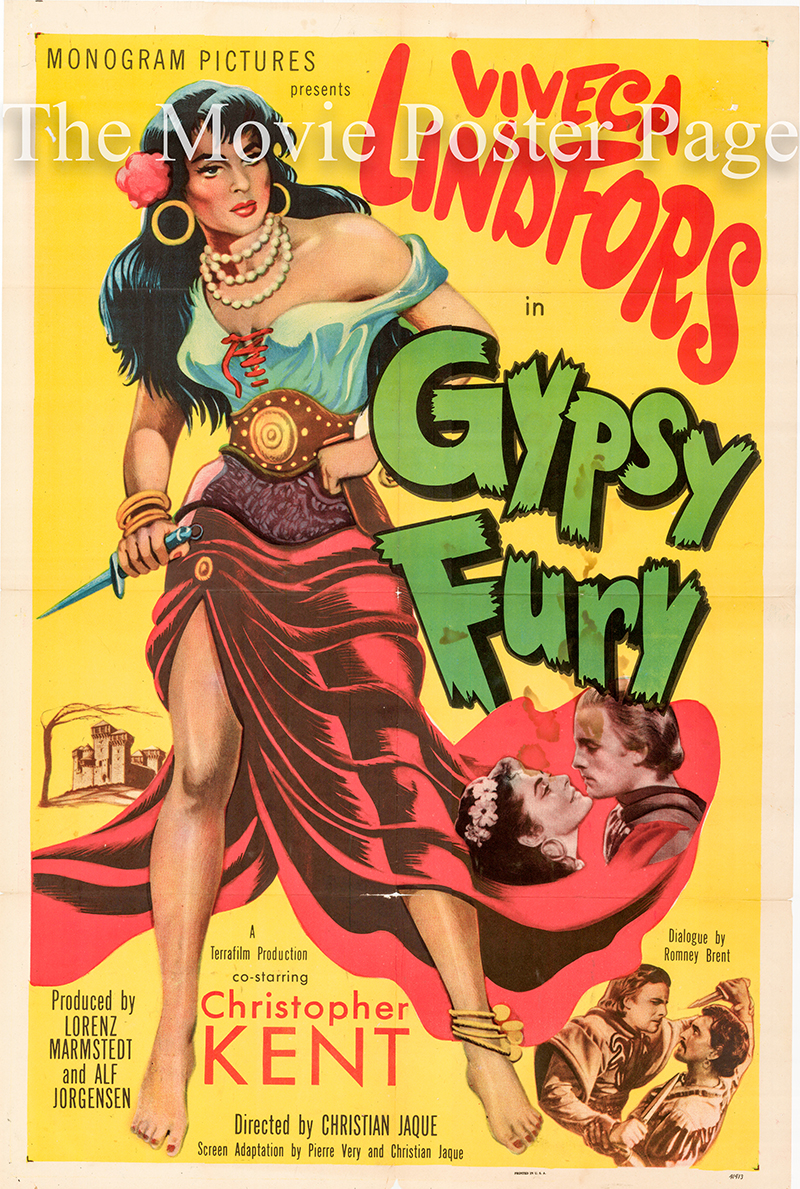 Pictured is a US one-sheet promotional poster for the 1951 Christian-Jacque film Gypsy Fury starring Viveca Lindfors.