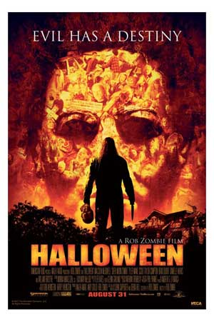 Pictured is the US promotional one-sheet poster for the 2007 Rob Zombie film Halloween starring Malcolm McDowell.