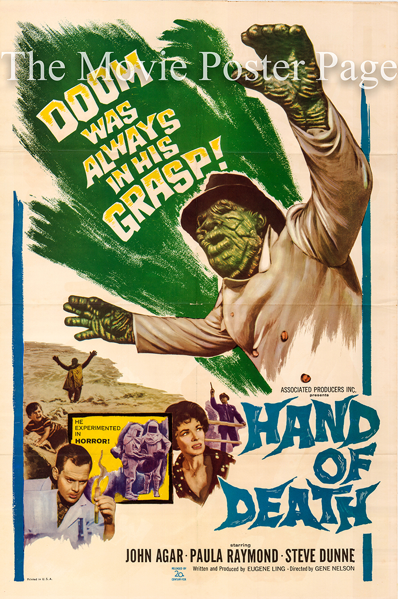 Pictured is a US one-sheet poster for the 1962 Gene Nelson film Hand of Death starring John Agar as Alex Marsh.